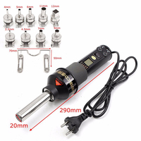 450W 110V/220V LCD Display Temperature Adjustable Soldering Station Hot Air Gun With Replacement Heater+9 Nozzles