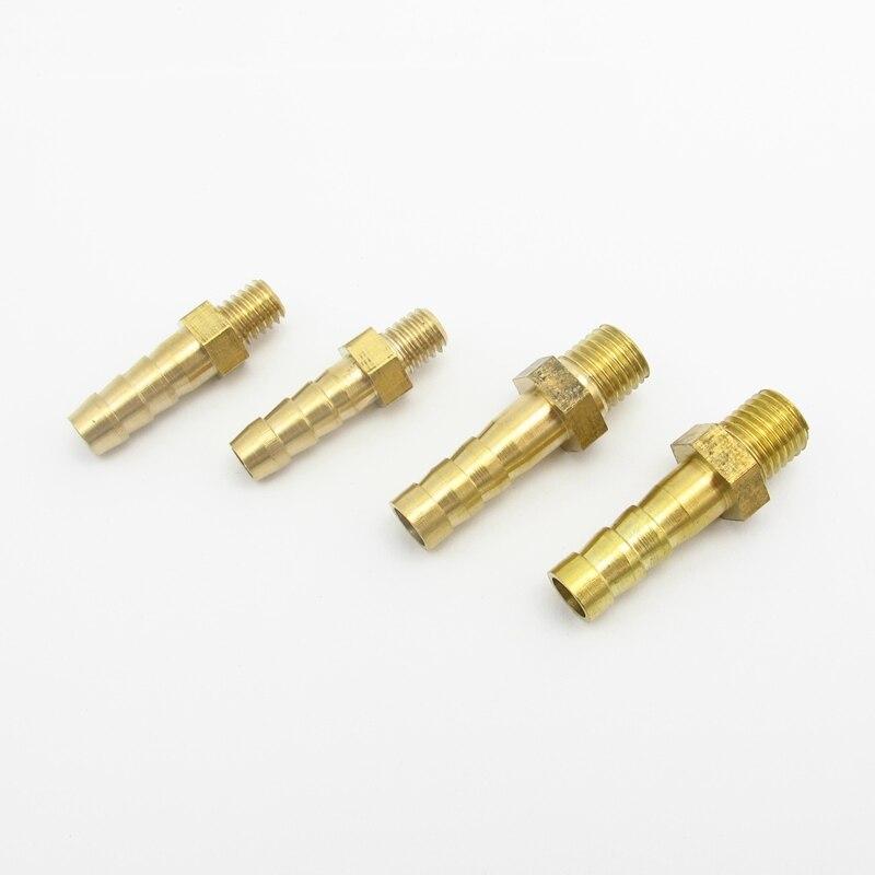 5PCS 2.5mm 3mm 4mm 5mm 6mm 8mm 10mm OD 호스 바브 M3 M4 M5 M6 M8 미터 규격 수나사 황동 파이프 피팅 커플러 커넥터 어댑터