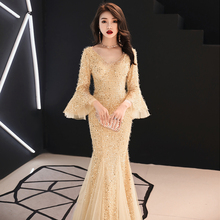 Golden Sequins Lace Patchwork Qipao Women Chinese Prom Dress Tight Slim Novelty Elegant Robe De Soiree Mermaid Dresses