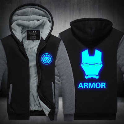 New Winter Jackets and Coats Iron Man hoodie Anime armor Luminous Hooded Thick Zipper Men Sweatshirts CM398