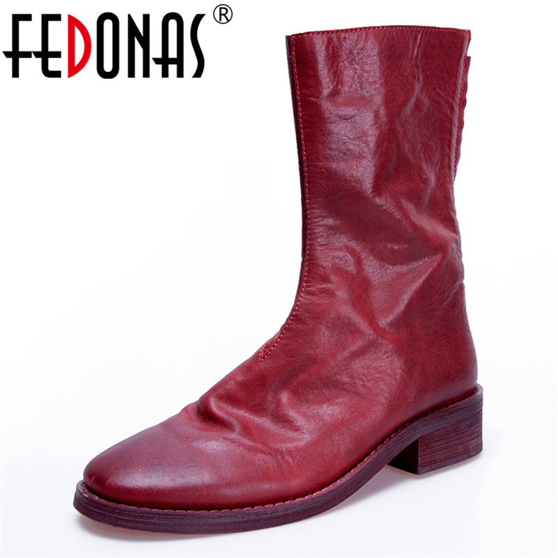 FEDONAS Retro Brand Women Mid calf Boots Genuine Leather Zipper High Keep Warm Shoes Woman Sexy