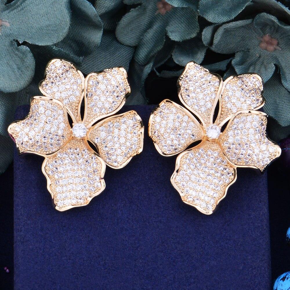 GODKI 45mm Begonia Flowers Trendy Cubic Zirconia American Wedding Party Earring Jewelry for Women