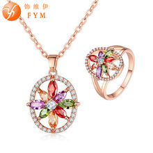 FYM Fashion Hollow Flower Shape Colorful Necklace + Rings Wedding Bridal Jewelry Sets Cubic Zirconia Jewelry Set for women party fym fashion colorful necklace rings hollow flower shape wedding bridal jewelry sets zircon jewelry set for women party