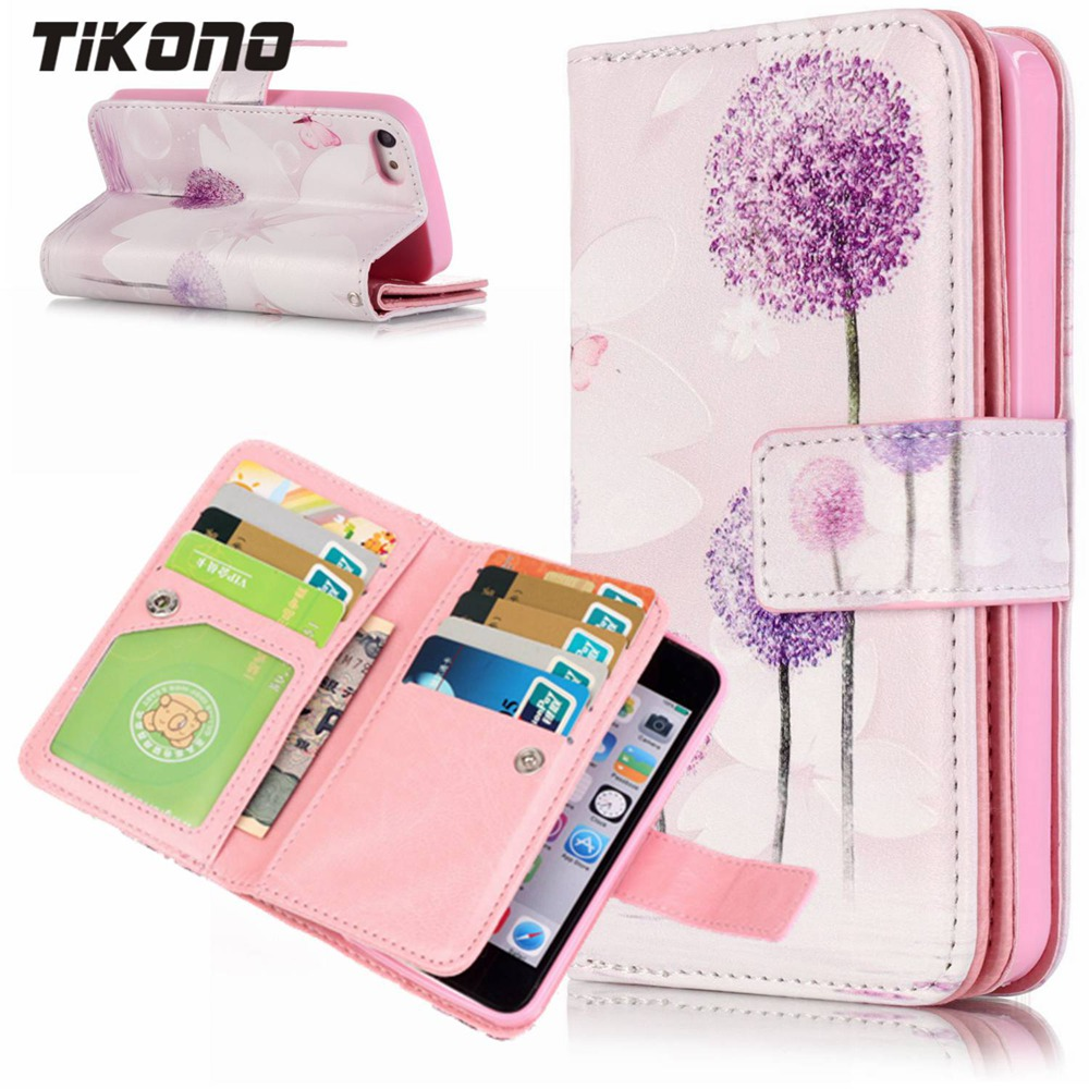 Case for iPhone 5 5C 5S SE 6 6S Plus 7 Plus Multifunction Stand Printed Wallet Flip Leather 9 Card Slots Phone Purse Bag