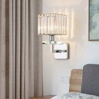 حديثة من مادة الكروم المعادن وحدة إضاءة LED جداريّة مصباح غرفة المعيشة الكريستال وحدة إضاءة LED جداريّة أضواء تركيبات غرفة نوم وحدة إضاءة LED جدا...
