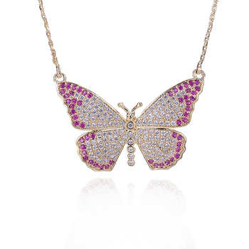 New Arrival Butterfly Pendants Necklace Cubic Zirconia Multicolor  Chain  Necklaces Gift For Women YMD1255 mossovy korean cubic zirconia butterfly pendant for female fashion popular pendants for women jewelry