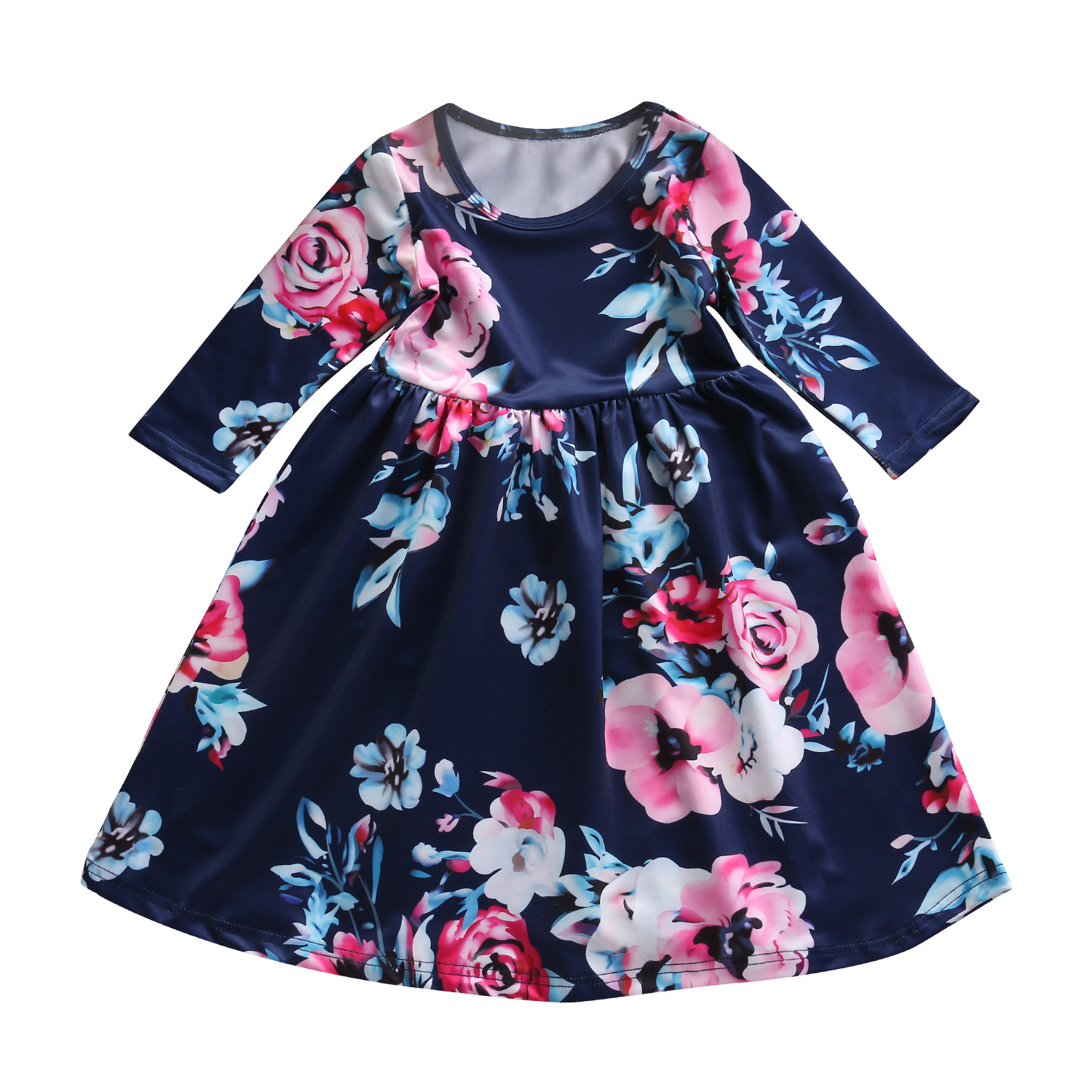 2017 Hot Sale Autumn Warm Floral Baby Girls Cotton Dress Toddler Kids Girls Long Sleeve Princess Dress Tutu Dresses 3 Color warm thicken baby rompers long sleeve organic cotton autumn