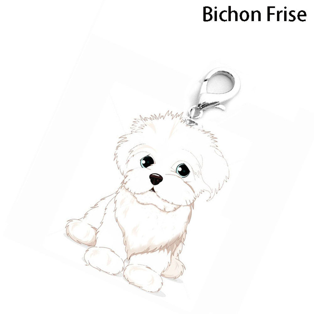 Bichon Frise Pattern Dog Collar Tag Disc Disk Pet ID White