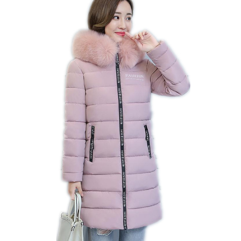Plus Size 6XL 2018 New Winter Women Jackets Hooded Large Fur Collar Casual Solid Winter Jacket Slim Cotton-Padded   Parkas   CQ2617