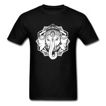 Thai Ganesha Printed On Short Sleeve T Shirt Round Collar Pure Cotton Men T Shirt New Coming Thai Elephant Day Black T-Shirt Men x men second coming