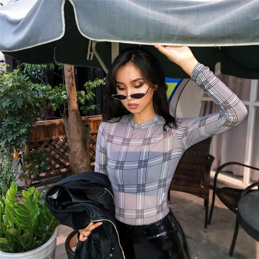 Kliou для женщин модные, пикантные сетчатые материал боди Черный плед печати 2019 Весна Длинный рукав женский тренировки street комбинезоны для