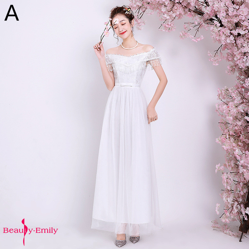 Beauty Emily Sexy Halter Neck Tulle A-line Bridesmaid Dress 2019 Sleeveless Floor-Length 4 Colors Available Wedding Guest Dress
