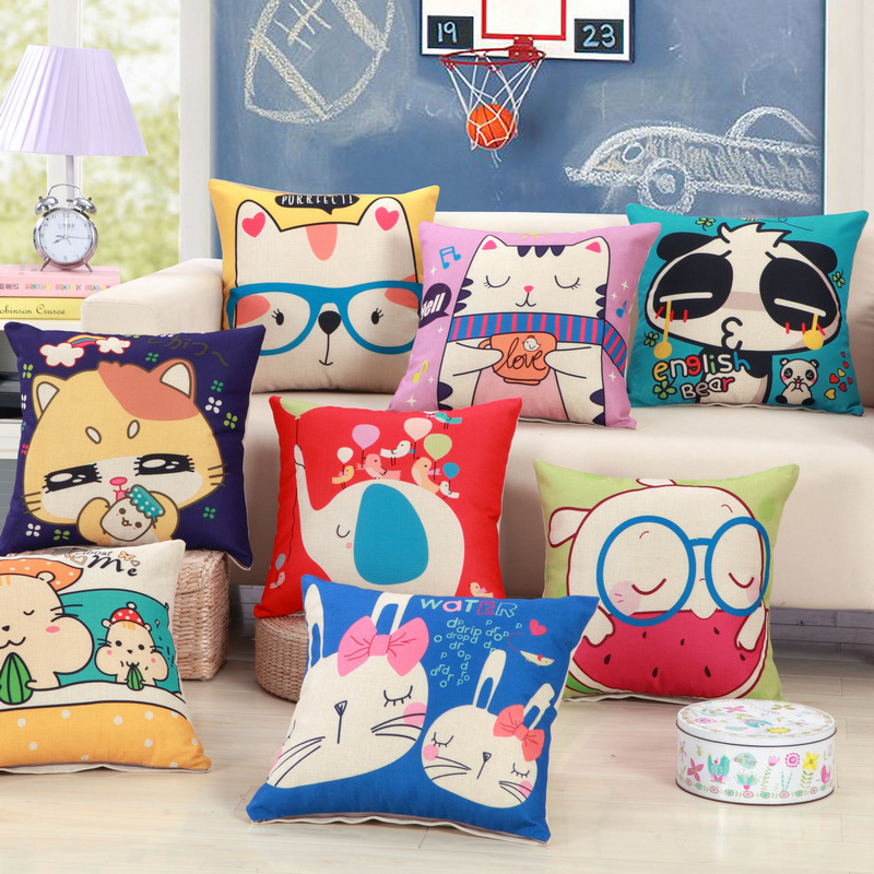Cute Kids Cartoon Print Cushion Include Filler Core 18inch 45cm Children Bed Room Decor Christmas Xmas Birthday Gift Hold Pillow