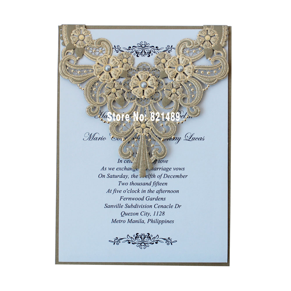 Gold lace wedding invitation luxury invitation cards top grade gold lace wedding invitation luxury invitation cards top grade wedding cards set of 50 in cards invitations from home garden on aliexpress stopboris Image collections