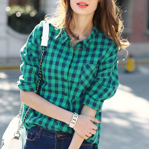 2015 New Spring Casual Cotton Plaid Shirt Female Long Sleeve Shirts Button Down Lapel Neck Women's Basic Top Blusas