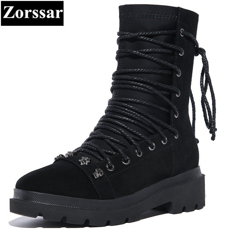 {Zorssar} 2017 NEW autumn winter ladies shoes Round Toe Mid heel ankle Martin boots fashion Cross-tied leisure womens boots 2017 autumn winter new womens leather ankle boots ladies black short boots round toe high block heel zip up booties size