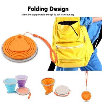 Vaso plegable de silicona fácil de guardar en la mochila