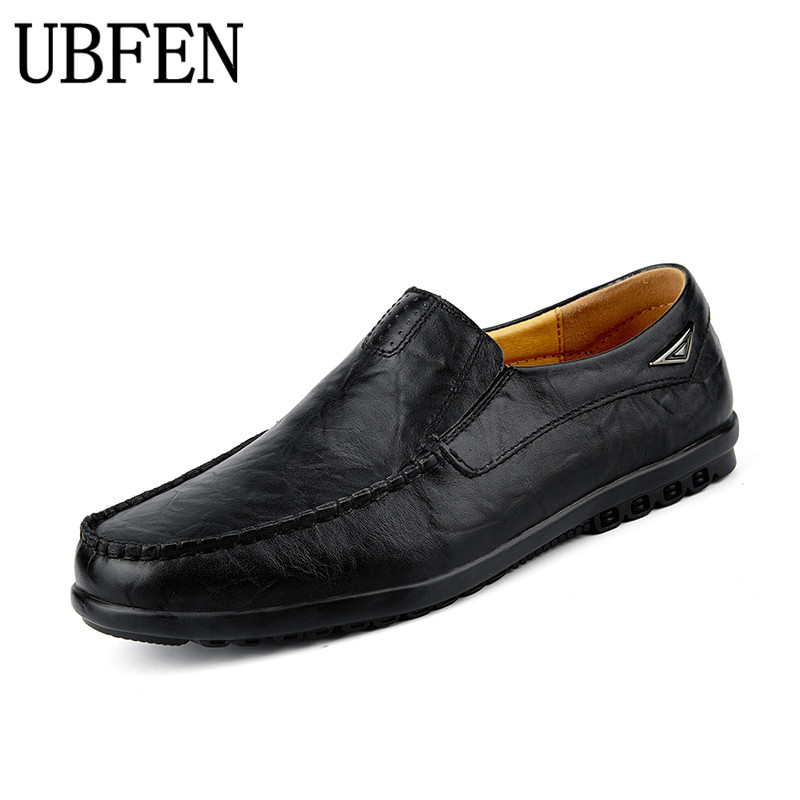 UBFEN 2017 Brand Men Casual Shoes Split Leather Men Flats Fashion Shoes High Quality Driving  Male Loafers Boat Shoes