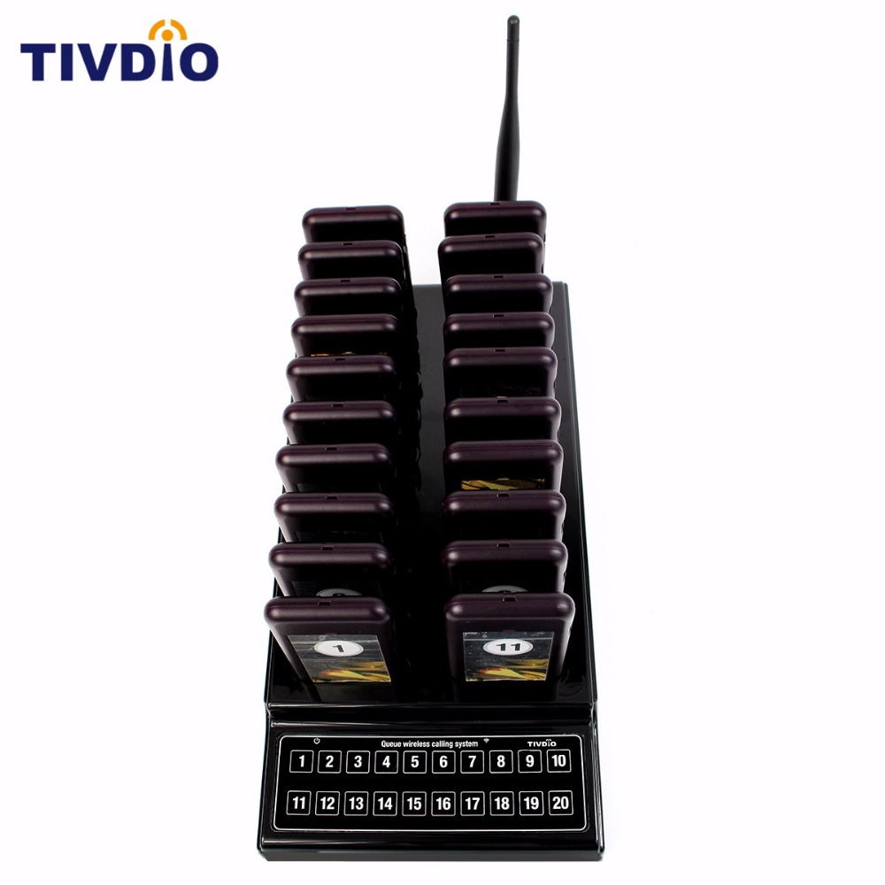 TIVDIO Wireless Pager Restaurant 20 Coaster System Waiter Paging Queuing Rechargeable Battery Pager Restaurants Equipments F9401 wireless pager system 433 92mhz wireless restaurant table buzzer with monitor and watch receiver 3 display 42 call button