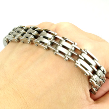 2017 NEW FASHION! Men Stainless Steel Bracelet Chain Link Cuff Wristband Silver Black Rubber HZB011