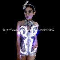 Бальный светодиодный костюм платье Одежда для танцев сценическое шоу бар реквизит светящиеся сексуальные женские вечерние платья
