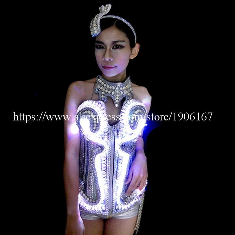 볼룸 Led 의상 드레스 옷 춤 무대 쇼 바 소품 빛나는 섹시한 레이디 파티 드레스