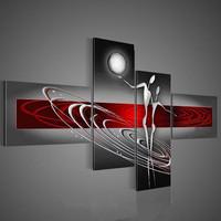 Hand painted Abstract Oil Paintings on Canvas 4 Panel Red Grey Circle Painting Modern Home Decor Wall Art Dancer People Pictures