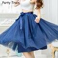 Fashion Womens 6 Layers Mesh Pleated Vintage faldas Women High Waist Long Skirt Flared Ball Gown Tutu Tulle SkirtsBSQ002K