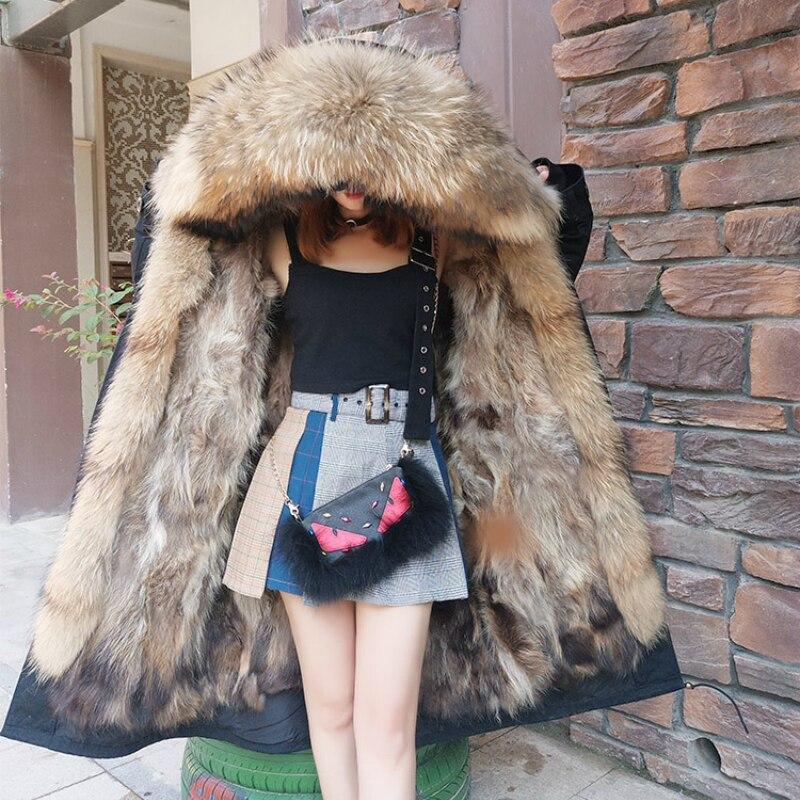X-long 2019 Winter Jacket Women Real Fur Coat Parka Natural Raccoon Fur Collar Fox Fur Liner Thick Warm Detachable Streetwear