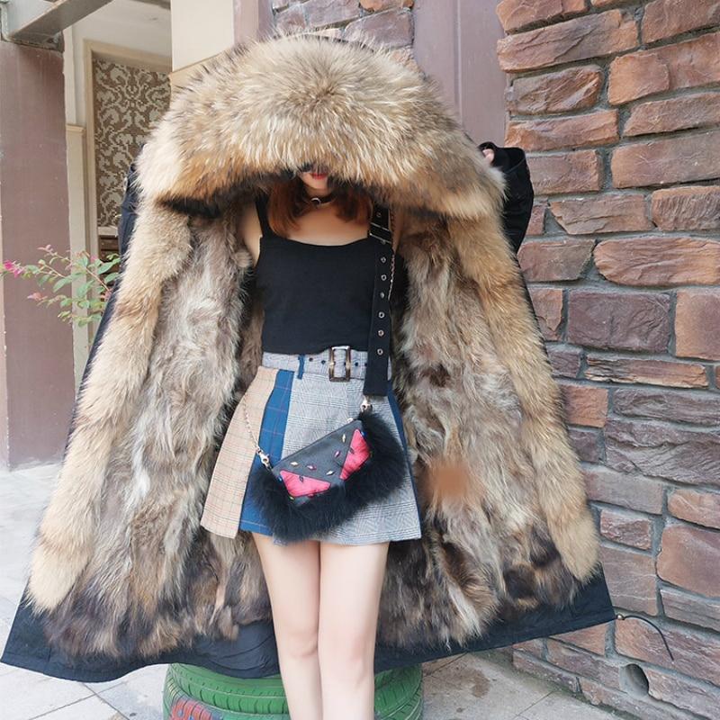 X-long 2020 Winter Jacket Women Real Fur Coat Parka Natural Raccoon Fur Collar Fox Fur Liner Thick Warm Detachable Streetwear