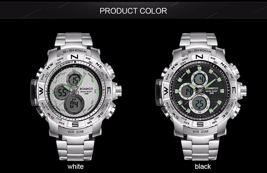 BOAMIGO Fashion Sport Man Watches Stainless Steel LED Digital Watch Analog Quartz Movement Waterproof Dual Display Wristwatches (10)
