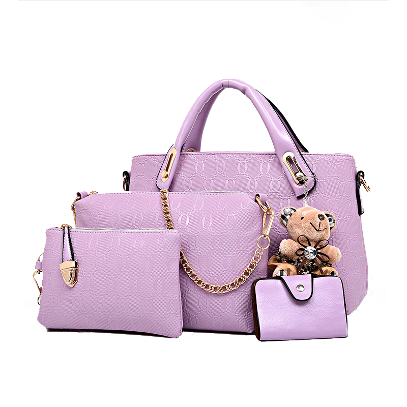 2016 Winter Composite Bags Women PU Leather font b Handbags b font Chain Bags Fashion Totes