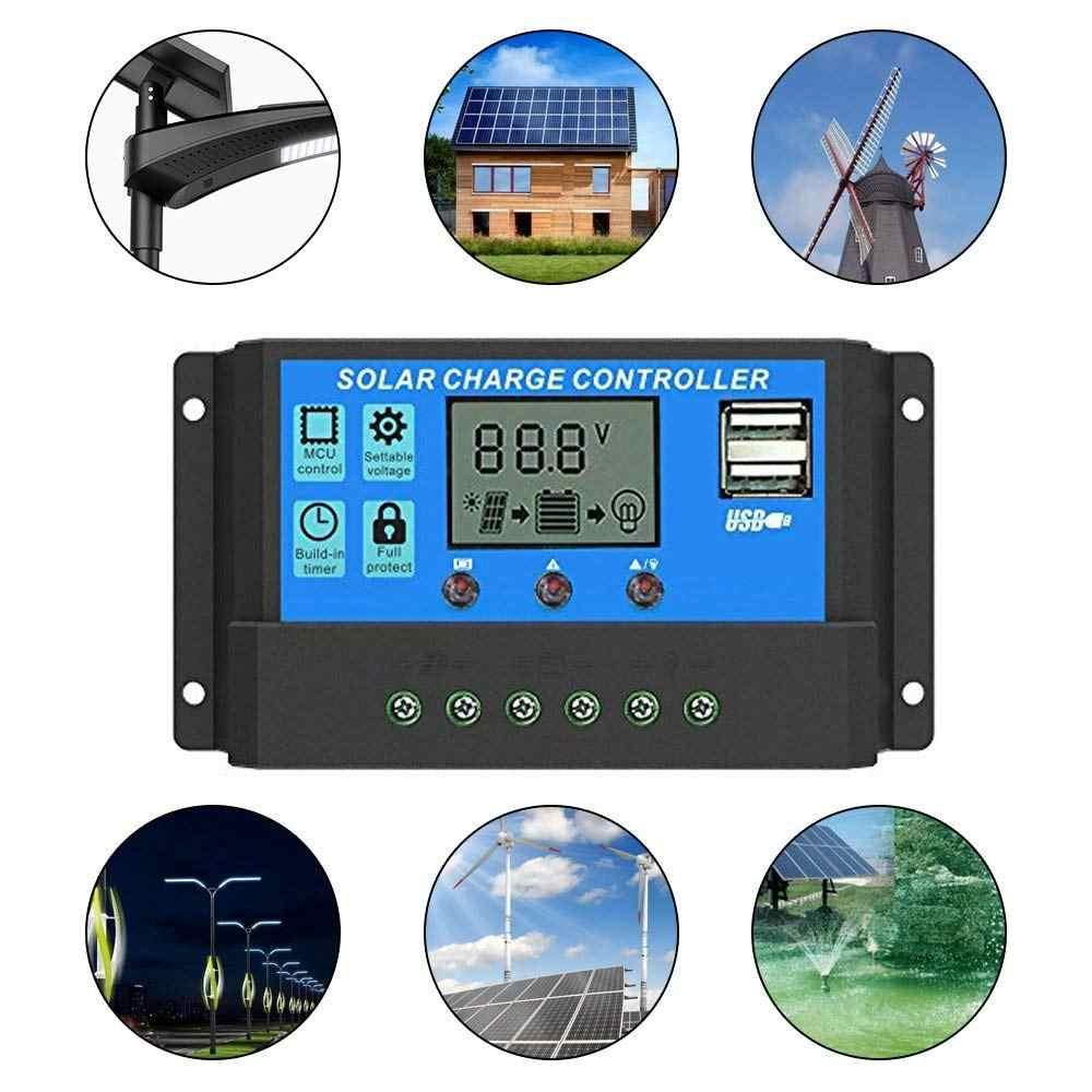 10A-40A MPPT 12V//24V Solar Charger Controller USB Dual Solar Panel Regulator