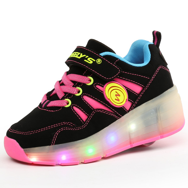High Quality Cheap Boys LED Sneakers With Wheels Kids Light Up Shoes Girls Roller Skates tenis de rodinha