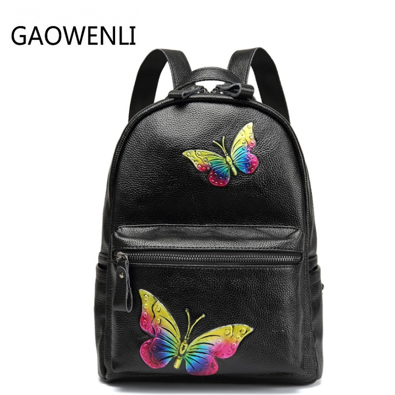 GAOWENLI Genuine Leather Double Shoulder Bag Butterfly Print Cow Leather Backpack Leisure Fashion Hot Selling Bag