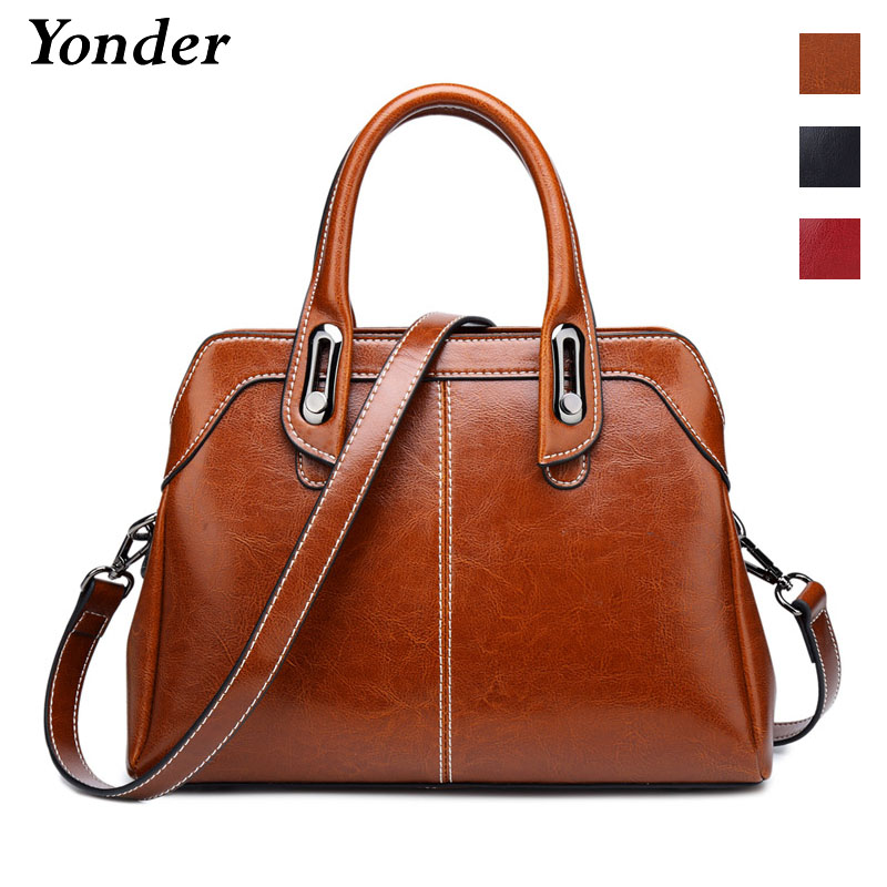 Yonder new brand fashion women genuine leather shoulder bag female luxury handbags women high quality messenger