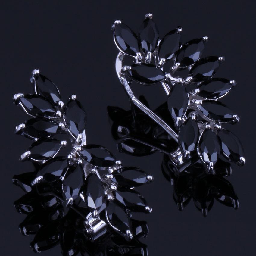 Романтические серьги в форме уха с черным фианитом посеребренные серьги кольца с зажимом V0890|Серьги-клипсы|   | АлиЭкспресс