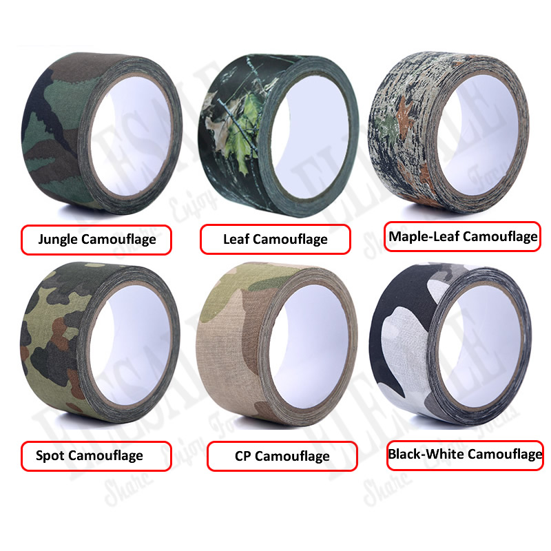 1 Roll 5cm*5m Camouflage Self-Adhesive Tape Hide Cover Anti-Skid Warning Tape For Outdoor Sports Hunting Fishing Cover
