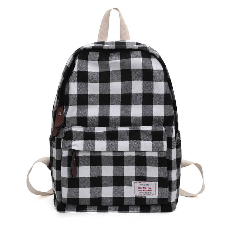 Grid Fabric Women Backpack Canvas School Backpack Bag 13 Computer Bag Summer Travel Day Pack Black