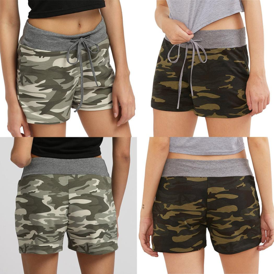 Womail Women   shorts   Summer Lady Camouflage Workout Hot   Shorts   Loose Drawstring Casual de mujer asiaticas Skinny dropship j23