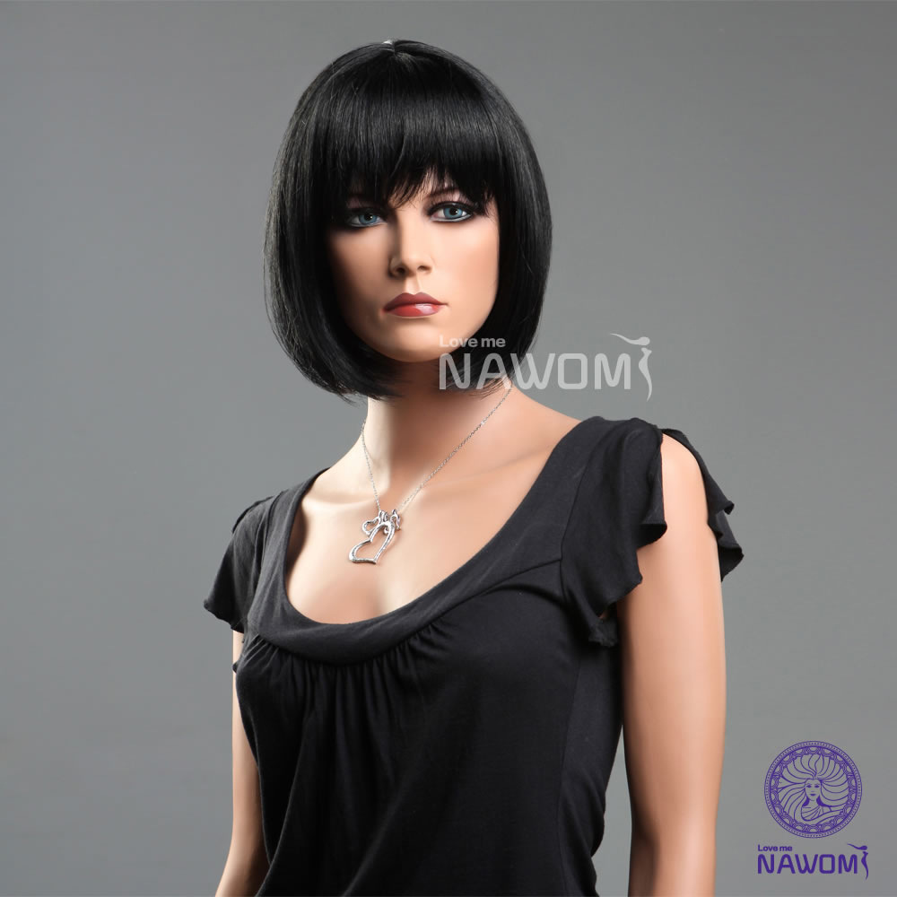 Hot Quality Asian Natural Wigs Personalized Fashion Style Black Straight Hair Short Hair Bobo