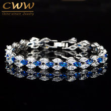 CWWZircons Stunning Cubic Zirconia Bridal Wedding Jewelry Silver Color Blue Crystal CZ Bracelet for Bridesmaid Gift CB026(China)