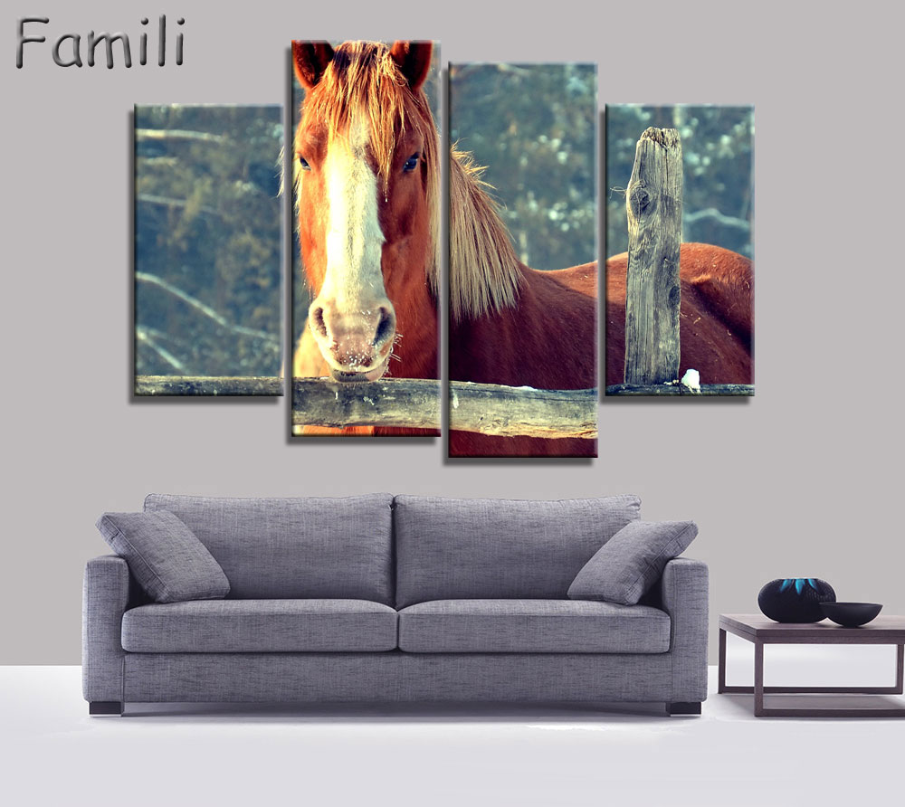 4Pcs/Set Sunset Horse Canvas Painting Animal Poster Vintage Grassland Wall Christmas Canvas Pictures For Home Decor Cheap Wall A