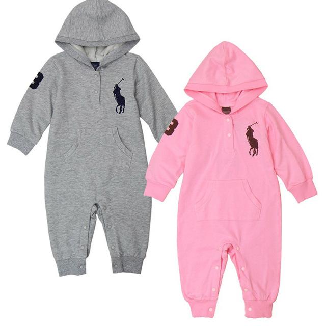 2017 nueva 0-2y alta calidad de manga larga con capucha polo mamelucos del bebé recién nacido bebé chicas chicos ropa