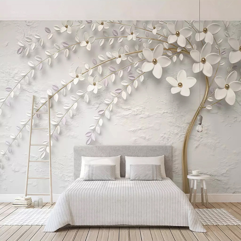 Custom Mural Wallpaper 3D Stereo Embossed White Flower Branch Photo Wall Paper Living Room Bedroom Home Decor 3D Papel De Parede