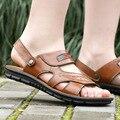 DreamShining Лето Мужской Сандалии Мужчины Обувь Из Натуральной Кожи Открытым Носком Сандалии Тапочки Моды Случайные Кожа Пляжная Обувь