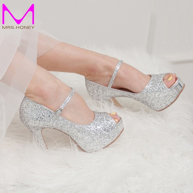 793bb9cadfbc Silver Glitter Wedding Shoes High Quality Customized Peep Toe Women High  Heels Homecoming Party Prom Shoes Stilettos 4 Inch Heel