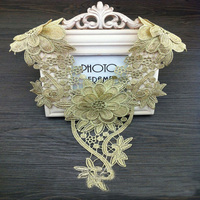 Livraison gratuite Magnifique 3D Or Floral Polyester Col Coudre sur la Dentelle Appliques Décolleté col garniture applique-MZ