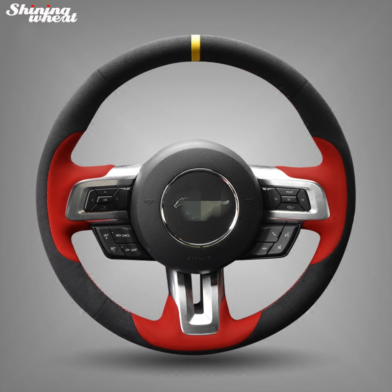 Shining wheat Hand stitched Black Suede Steering Wheel Cover for 2015 2016 new ford mustang
