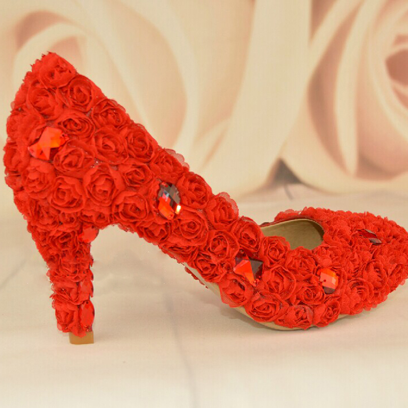 Red Flower Woman Wedding Dress Shoes Fashion Woman Bridal Shoes Lady Crystal Evening Party Prom Dress Shoes Free Shipping